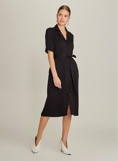 NGSTYLE Midi Gömlek Elbise Siyah